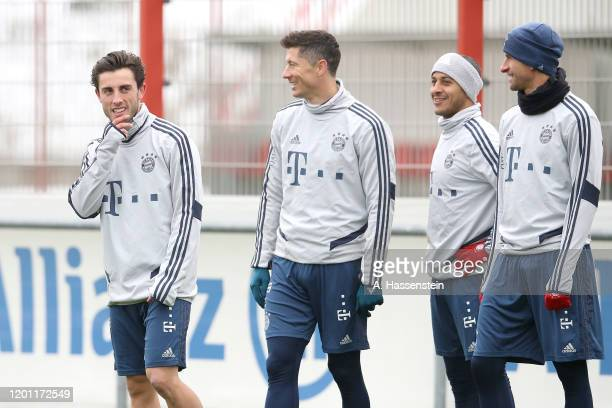 Alvaro Odriozola of FC Bayern Muenchen looks on during a training session at Saebener Strasse training ground on January 22 2020 in Munich Germany