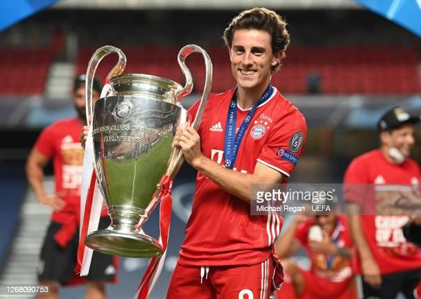 Alvaro Odriozola of FC Bayern Munich celebrates with the UEFA Champions League Trophy following his team's victory in the UEFA Champions League Final...