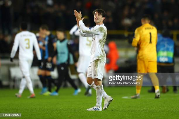 Alvaro Odriozola of Real Madrid applauds fans after following victory in the UEFA Champions League group A match between Club Brugge KV and Real...
