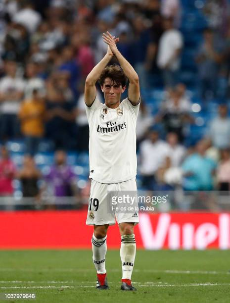 Alvaro Odriozola of Real Madrid applause to the fans during the La Liga match between Real Madrid and RCD Espanyol at Estadio Santiago Bernabeu on...