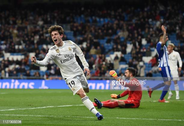 Alvaro Odriozola of Real Madrid celebrates but the goal is disallowed during the La Liga match between Real Madrid CF and Deportivo Alaves at Estadio...