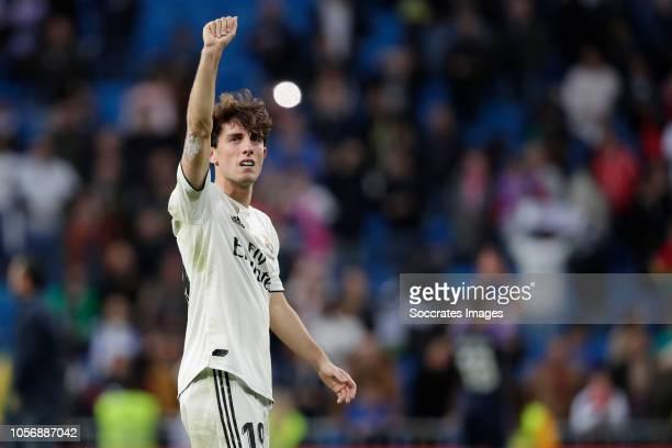 Alvaro Odriozola of Real Madrid celebrates the victory during the La Liga Santander match between Real Madrid v Real Valladolid at the Santiago...