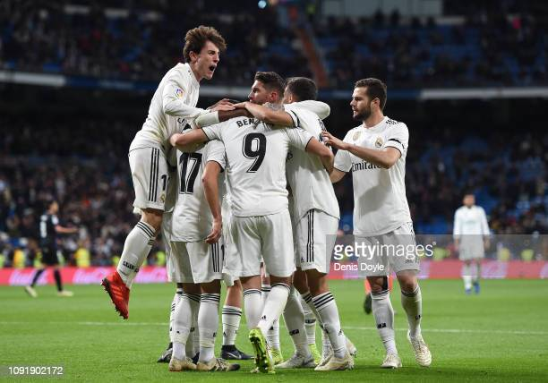 Alvaro Odriozola of Real Madrid CF celebrates after Lucas Vazquez scored their 2nd goal during the Copa del Rey Round of 16 match between Real Madrid...