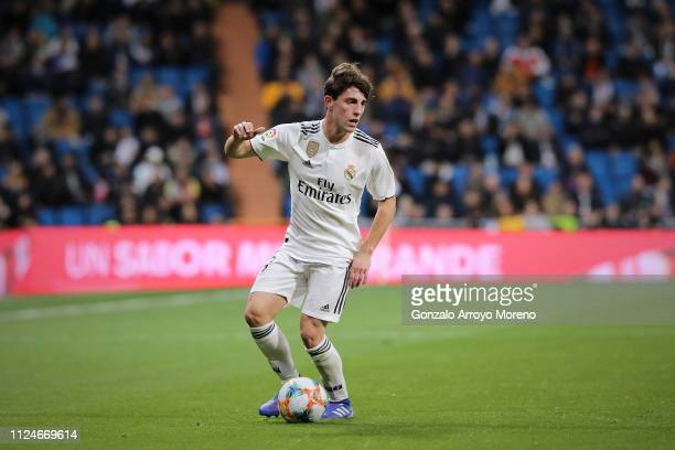 Alvaro Odriozola of Real Madrid CF controls the ball during the Copa del Rey Quarter Final match between Real Madrid CF and Girona FC at Estadio...