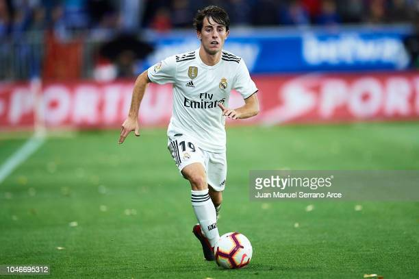 Alvaro Odriozola of Real Madrid CF in action during the La Liga match between Deportivo Alaves and Real Madrid CF at Estadio de Mendizorroza on...