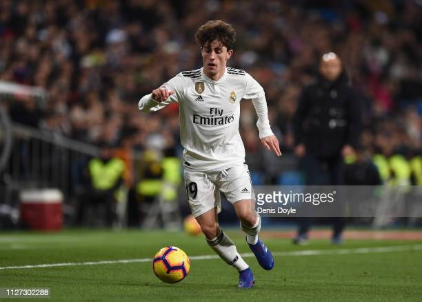 Alvaro Odriozola of Real Madrid CF in action during the La Liga match between Real Madrid CF and Deportivo Alaves at Estadio Santiago Bernabeu on...