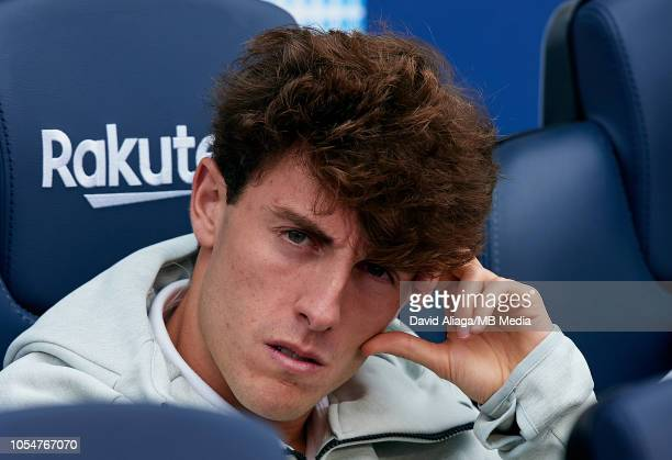 Alvaro Odriozola of Real Madrid CF looks on prior to the La Liga match between FC Barcelona and Real Madrid CF at Camp Nou on October 28 2018 in...