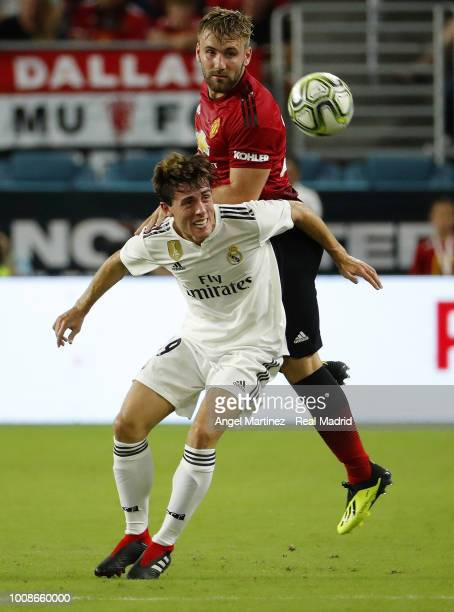 Alvaro Odriozola of Real Madrid competes for the ball with Luke Shaw of Manchester United during the International Champions Cup 2018 match between...