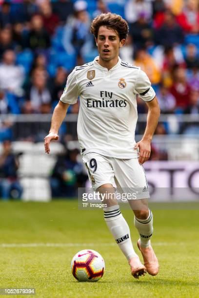 Alvaro Odriozola of Real Madrid controls the ball during the La Liga match between Real Madrid CF and Levante UD at Estadio Santiago Bernabeu on...