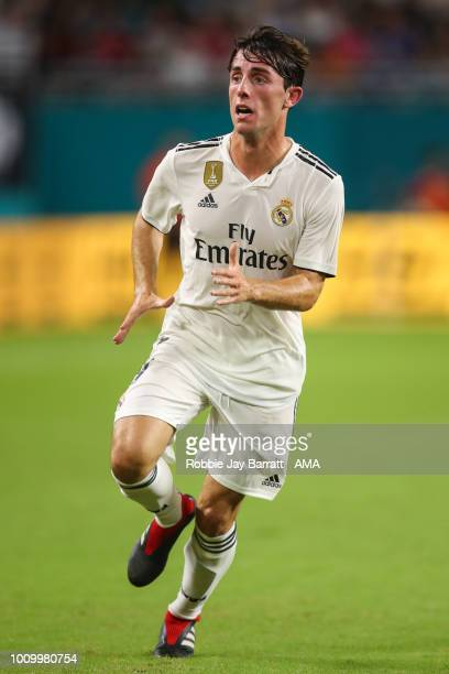 Alvaro Odriozola of Real Madrid during the International Champions Cup 2018 fixture between Manchester United v Real Madrid at Hard Rock Stadium on...