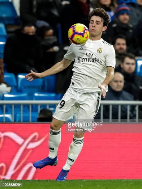 Alvaro Odriozola of Real Madrid during the La Liga Santander match between Real Madrid v Deportivo Alaves at the Santiago Bernabeu on February 3 2019...