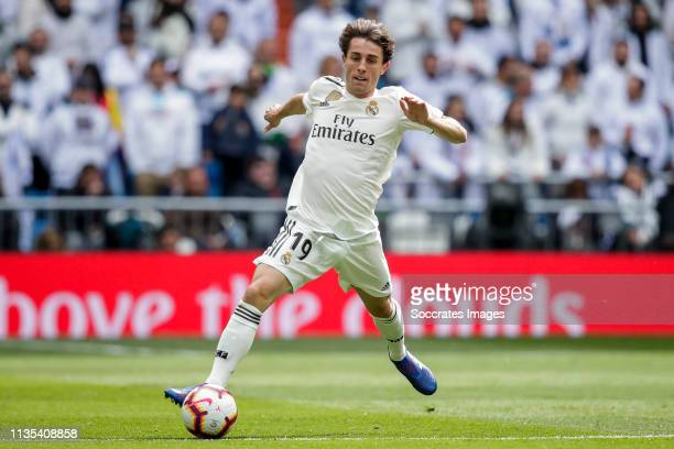 Alvaro Odriozola of Real Madrid during the La Liga Santander match between Real Madrid v Eibar at the Santiago Bernabeu on April 6 2019 in Madrid...