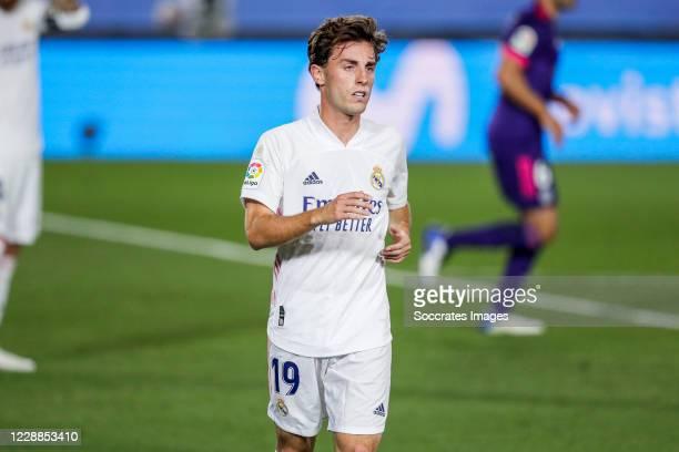 Alvaro Odriozola of Real Madrid during the La Liga Santander match between Real Madrid v Real Valladolid at the Alfredo di Stefano Stadium on...