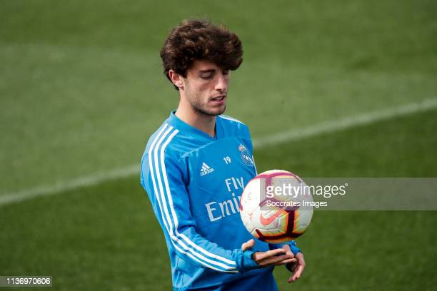 Alvaro Odriozola of Real Madrid during the Training session Real Madrid on April 14 2019 in Madrid Spain