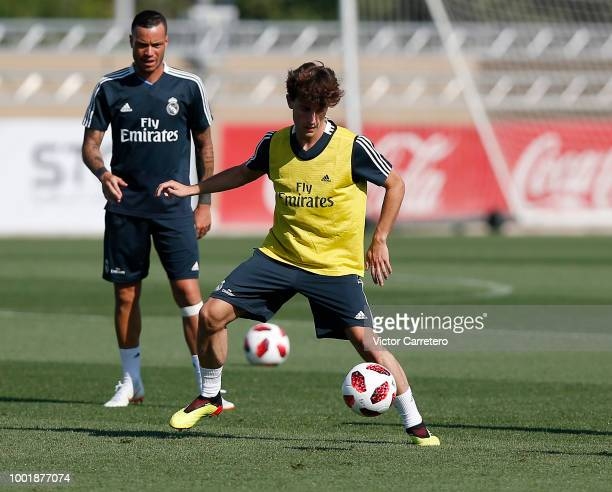 Alvaro Odriozola of Real Madrid in action during a training session at Valdebebas training ground on July 19 2018 in Madrid Spain