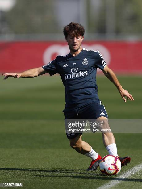 Alvaro Odriozola of Real Madrid in action during a training session at Valdebebas training ground on September 14 2018 in Madrid Spain