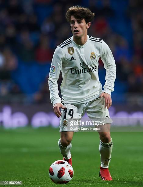 Alvaro Odriozola of Real Madrid in action during the Copa del Rey Round of 16 match between Real Madrid and Leganes at Bernabeu on January 09 2019 in...