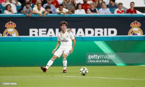 Alvaro Odriozola of Real Madrid in action during the International Champions Cup 2018 match between Manchester United and Real Madrid at Hard Rock...