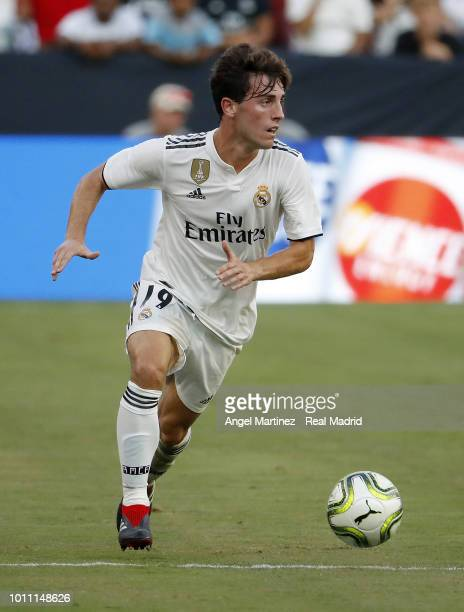 Alvaro Odriozola of Real Madrid in action during the International Champions Cup 2018 match between Real Madrid and Juventus at FedExField on August...