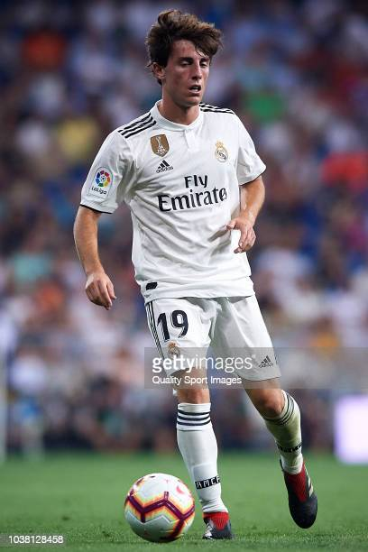 Alvaro Odriozola of Real Madrid in action during the La Liga match between Real Madrid CF and RCD Espanyol at Estadio Santiago Bernabeu on September...