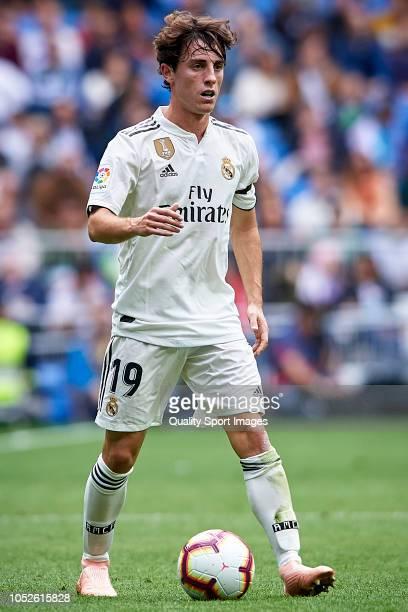 Alvaro Odriozola of Real Madrid in action during the La Liga match between Real Madrid CF and Levante UD at Estadio Santiago Bernabeu on October 20...