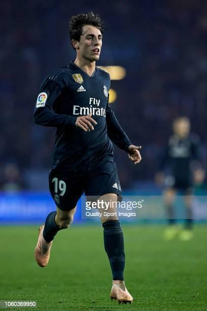 Alvaro Odriozola of Real Madrid in action during the La Liga match between RC Celta de Vigo and Real Madrid CF at Abanca Balaidos Stadium on November...