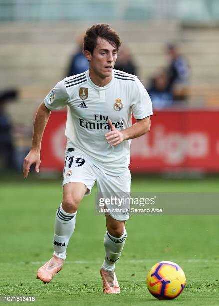 Alvaro Odriozola of Real Madrid in action during the La Liga match between SD Eibar and Real Madrid CF at Ipurua Municipal Stadium on November 24...