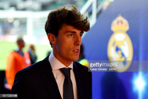 Alvaro Odriozola of Real Madrid looks on ahead the UEFA Super Cup between Real Madrid and Atletico Madrid at Lillekula Stadium on August 15 2018 in...