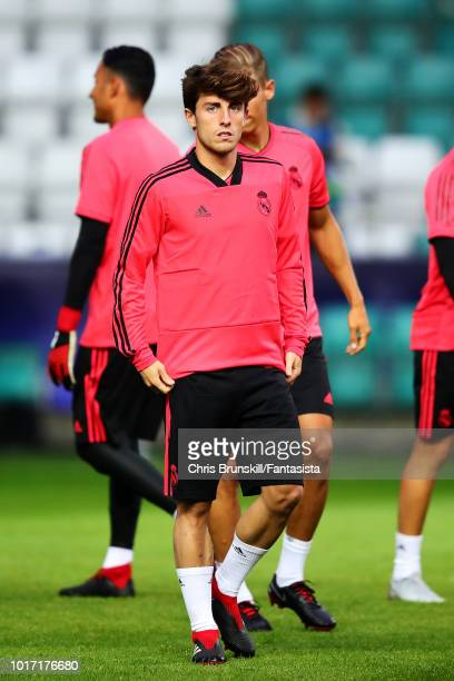 Alvaro Odriozola of Real Madrid looks on during a training session ahead of the UEFA Super Cup at A Le Coq Arena on August 14 2018 in Tallinn Estonia