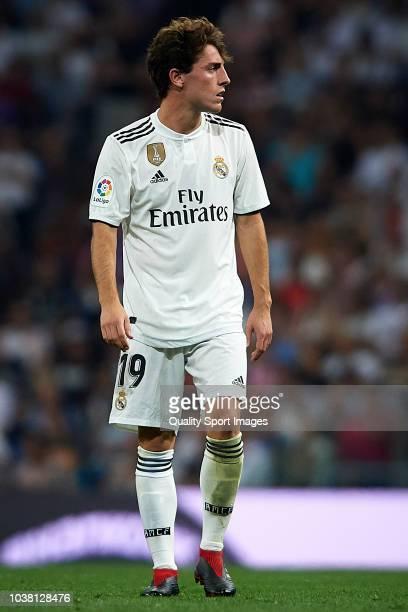 Alvaro Odriozola of Real Madrid looks on during the La Liga match between Real Madrid CF and RCD Espanyol at Estadio Santiago Bernabeu on September...