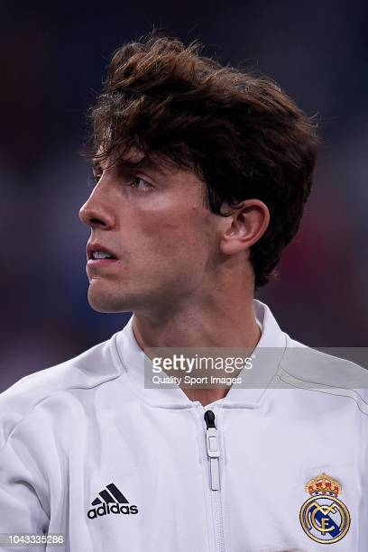 Alvaro Odriozola of Real Madrid looks on prior to the La Liga match between Real Madrid CF and RCD Espanyol at Estadio Santiago Bernabeu on September...