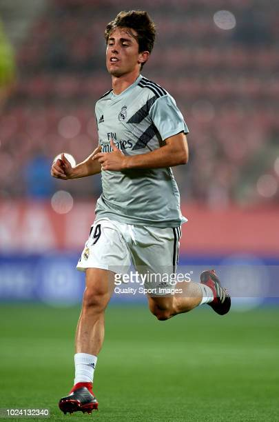 Alvaro Odriozola of Real Madrid warm up prior to the La Liga match between Girona FC and Real Madrid CF at Montilivi Stadium on August 26 2018 in...