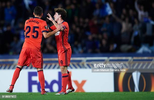 Alvaro Odriozola of Real Sociedad celebrates after scoring the first goal of Real Sociedad with his team mate Hector Moreno of Real Sociedad during...