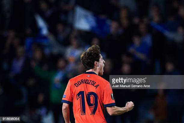 Alvaro Odriozola of Real Sociedad celebrates after scoring the first goal of Real Sociedad during UEFA Europa League Round of 32 match between Real...