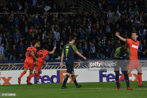 Alvaro Odriozola of Real Sociedad celebrates with teammates after scoring during the UEFA Europa League Round of 8 1st Leg match between Real...