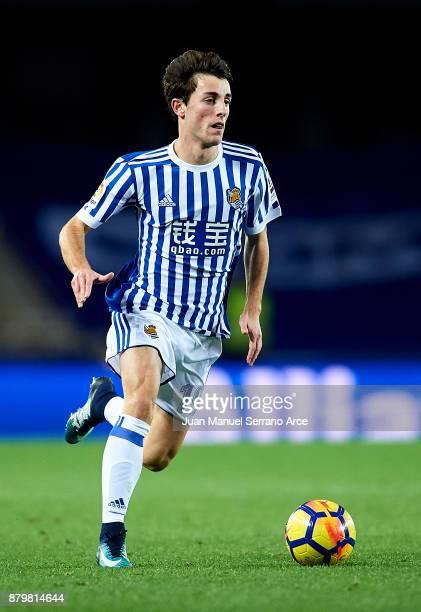 Alvaro Odriozola of Real Sociedad controls the ball during the La Liga match between Real Sociedad de Futbol and UD Las Palmas at Estadio Anoeta on...