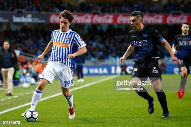 Alvaro Odriozola of Real Sociedad Daniel Torres of Deportivo Alaves during the match between Real Sociedad v Deportivo Alaves at the Estadio Anoeta...