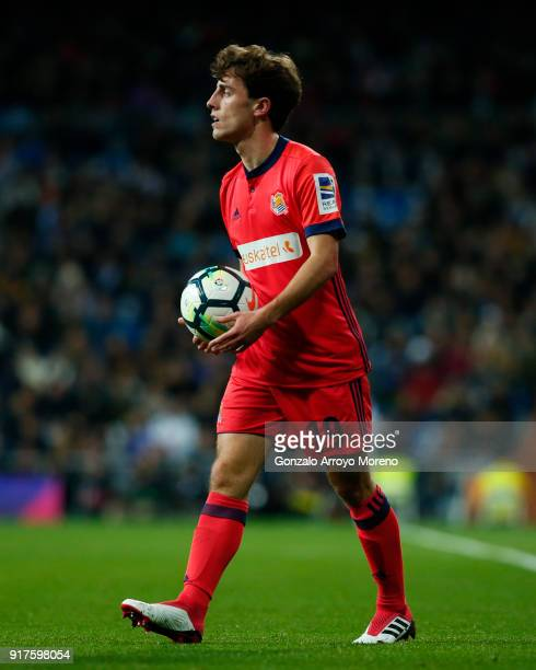 Alvaro Odriozola of Real Sociedad de Futbol holds the ball during the La Liga match between Real Madrid CF and Real Sociedad de Futbol at Estadio...