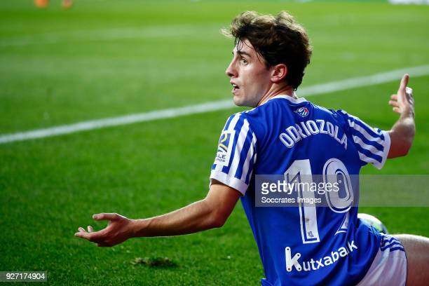 Alvaro Odriozola of Real Sociedad during the match between Real Sociedad v Deportivo Alaves at the Estadio Anoeta on March 4 2018 in San Sebastian...