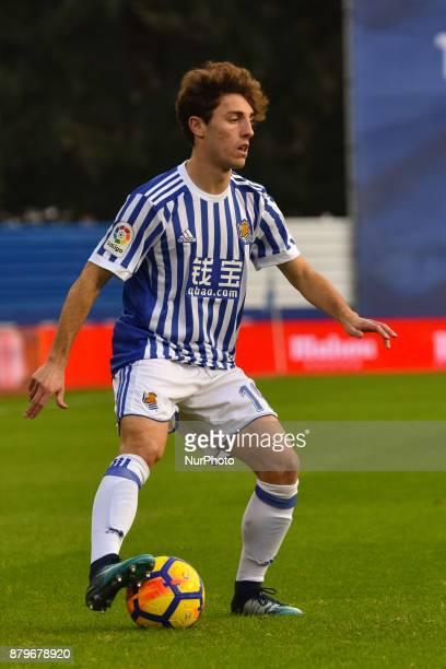 Alvaro Odriozola of Real Sociedad during the Spanish league football match between Real Sociedad and U D Las Palmas at the Anoeta Stadium on 26...