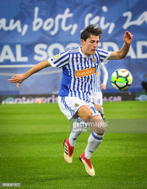 Alvaro Odriozola of Real Sociedad during the Spanish league football match between Real Sociedad and Getafe at the Anoeta Stadium on 17 March 2018 in...