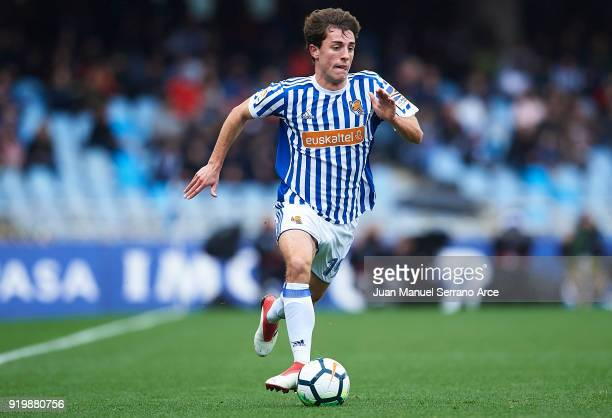Alvaro Odriozola of Real Sociedad in action during the La Liga match between Real Sociedad and Levante at Estadio de Anoeta on February 18 2018 in...