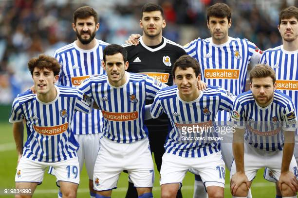 Alvaro Odriozola of Real Sociedad Juanmi of Real Sociedad Mikel Oyarzabal of Real Sociedad Asier Illarramendi of Real Sociedad during the La Liga...