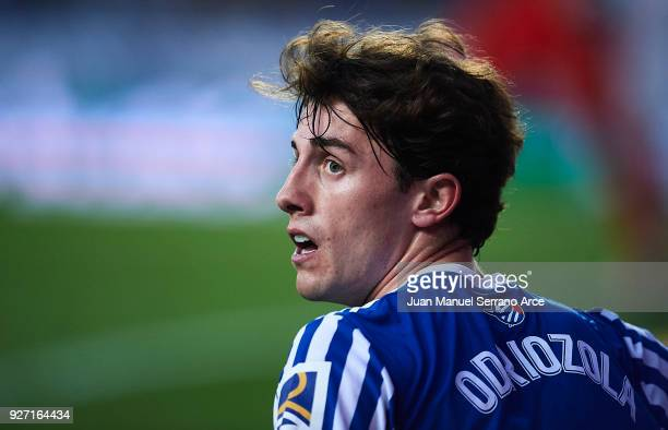 Alvaro Odriozola of Real Sociedad looks on during the La Liga match between Real Sociedad and Deportivo Alaves at Estadio de Anoeta on March 4 2018...