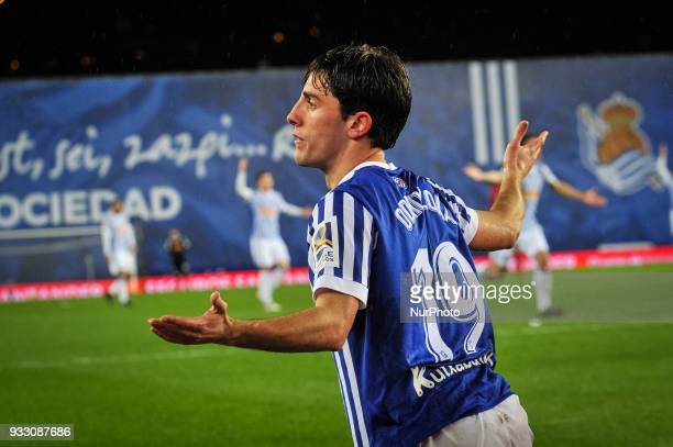 Alvaro Odriozola of Real Sociedad reacts during the Spanish league football match between Real Sociedad and Getafe at the Anoeta Stadium on 17 March...