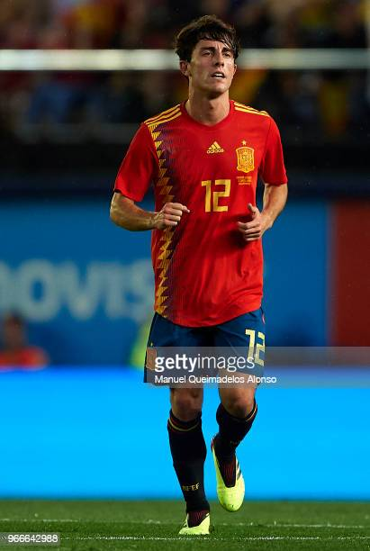 Alvaro Odriozola of Spain celebrates after scoring his sides first goal during the International Friendly match between Spain and Switzerland at...