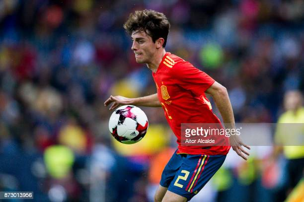 Alvaro Odriozola of Spain controls the ball during the international friendly match between Spain and Costa Rica at La Rosaleda Stadium on November...