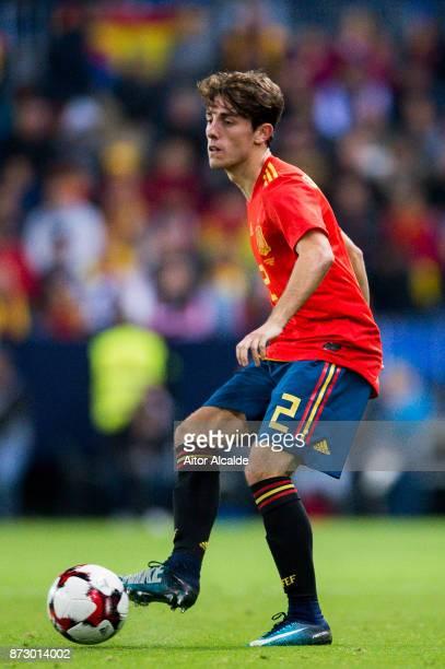 Alvaro Odriozola of Spain controls the ball during the international friendly match between Spain and Costa Rica at La Rosaleda Stadium on November...