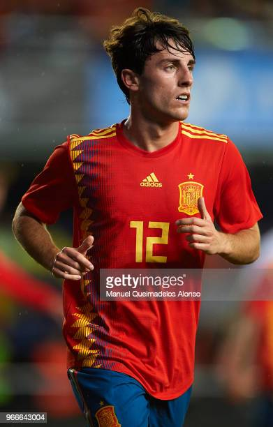 Alvaro Odriozola of Spain looks on during the International Friendly match between Spain and Switzerland at Estadio de La Ceramica on June 3 2018 in...