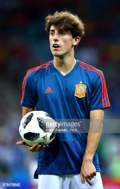 Alvaro Odriozola of Spain looks on during the warm up prior to the 2018 FIFA World Cup Russia group B match between Portugal and Spain at Fisht...